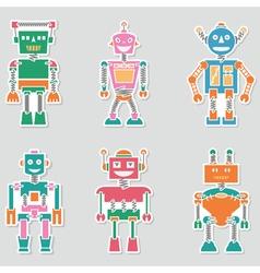Colorful bright cute retro robots stickers set vector image