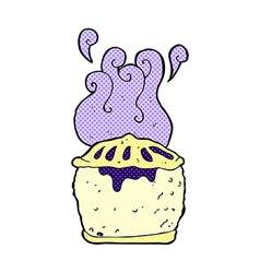 Comic cartoon blueberry pie vector