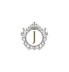 Crown leaf logo initial j vector
