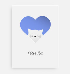 cut the heart on the paper and white cat vector image