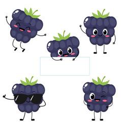 Cute cartoon happy blackberry character set vector