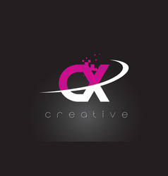 cx c x creative letters design with white pink vector image