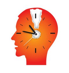 deadline stress male head silhouette vector image