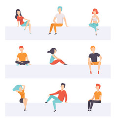 Diverse people sitting on different positions set vector