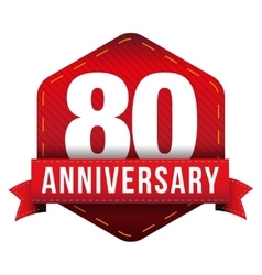 Eighty year anniversary badge with red ribbon vector
