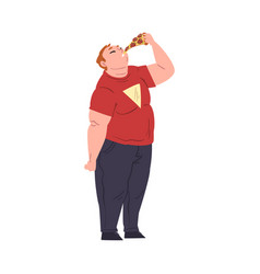 Fat man eating pizza obese guy enjoying fast vector