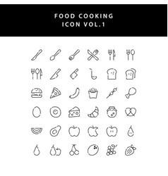 food cooking icon outline set vol 1 vector image