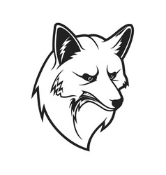 Fox head outline wild animal muzzle icon vector