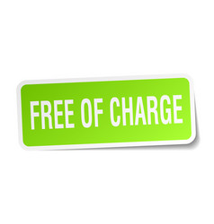 Free of charge square sticker on white vector