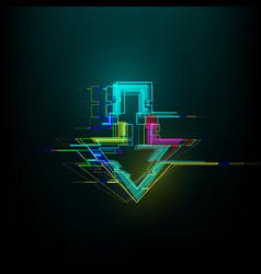 Futuristic glitch down arrow in cyberpunk style vector