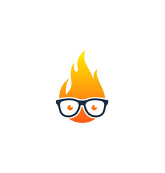 Geek fire logo icon design vector