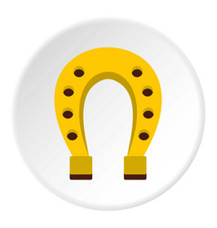 Golden horseshoe icon circle vector