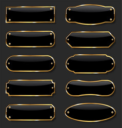 Golden metal plates collection on black vector