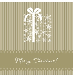 Greeting christmas card with present box vector image