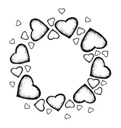 hand drawn frame of hearts vector image