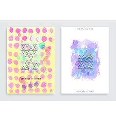 Hand drawn watercolor cards vector image