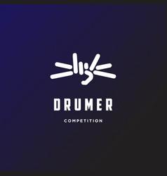 Hand hold drum stick music drumer festival vector
