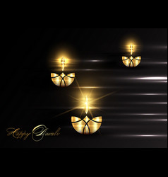 Happy diwali indian lights festival burning lamps vector