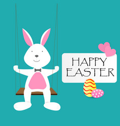 happy easter day greeting text with rabbit eggs vector image