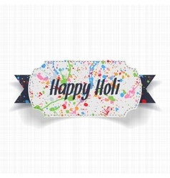Happy Holi white Banner with blue Ribbon vector