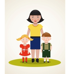 Happy Mother with Two Children vector image vector image