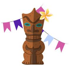 Hawaiian wooden idol insulated elements image vector