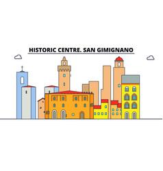 Historic centre san gimignano line travel vector