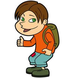 hitchhiker boy vector image