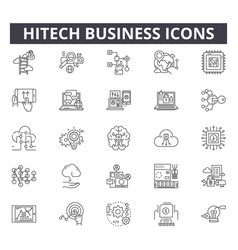 Hitech business line icons for web and mobile vector