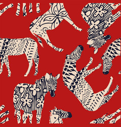 horse zebra abstract coloring red background vector image