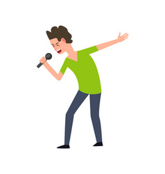 human character singing song solo artist vector image