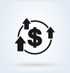 Increase boost and heighten greenback dollar icon vector
