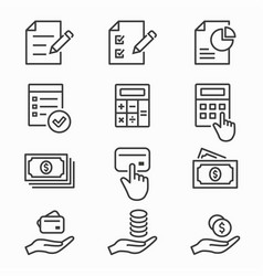 investments money icons set black vector image