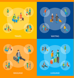 isometric travel people characters banner set vector image