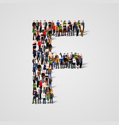 large group of people in letter f form vector image