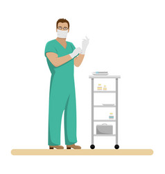 man doctor in working form in sterile gloves vector image