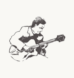 man playing guitar hand drawn vintage vector image