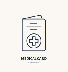 medical card flat line icon insurance vector image