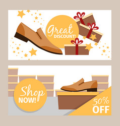 Men summer shoes horizontal banners vector