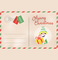 Merry christmas retro elf holiday postcard vector