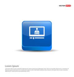 monitor icon - 3d blue button vector image
