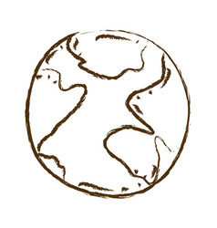 Monochrome hand drawn silhouette of map world vector