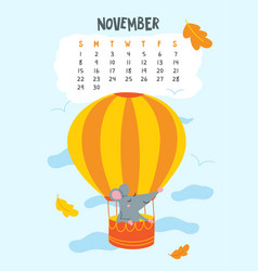 november calendar page with cute rat in air vector image