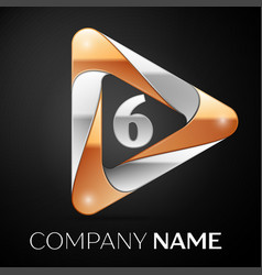 Number six logo symbol in the colorful triangle on vector