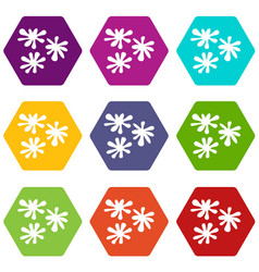 paintball blob icon set color hexahedron vector image