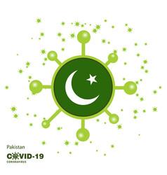 Pakistan coronavius flag awareness background vector