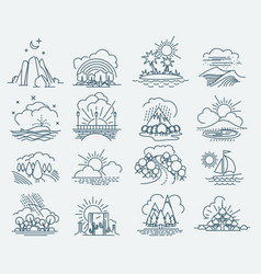 park landscape outline icons vector image