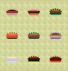 Pie icons set delicious pies vector