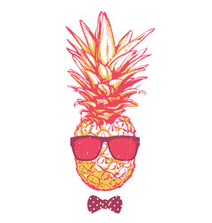 Pineapple in sunglasses vector