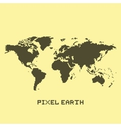 Pixel art isolated earth map vector image